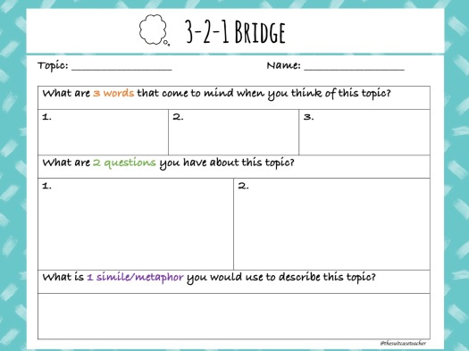 3 2 1 Bridge Thinking Routine @thesuitcaseteacher