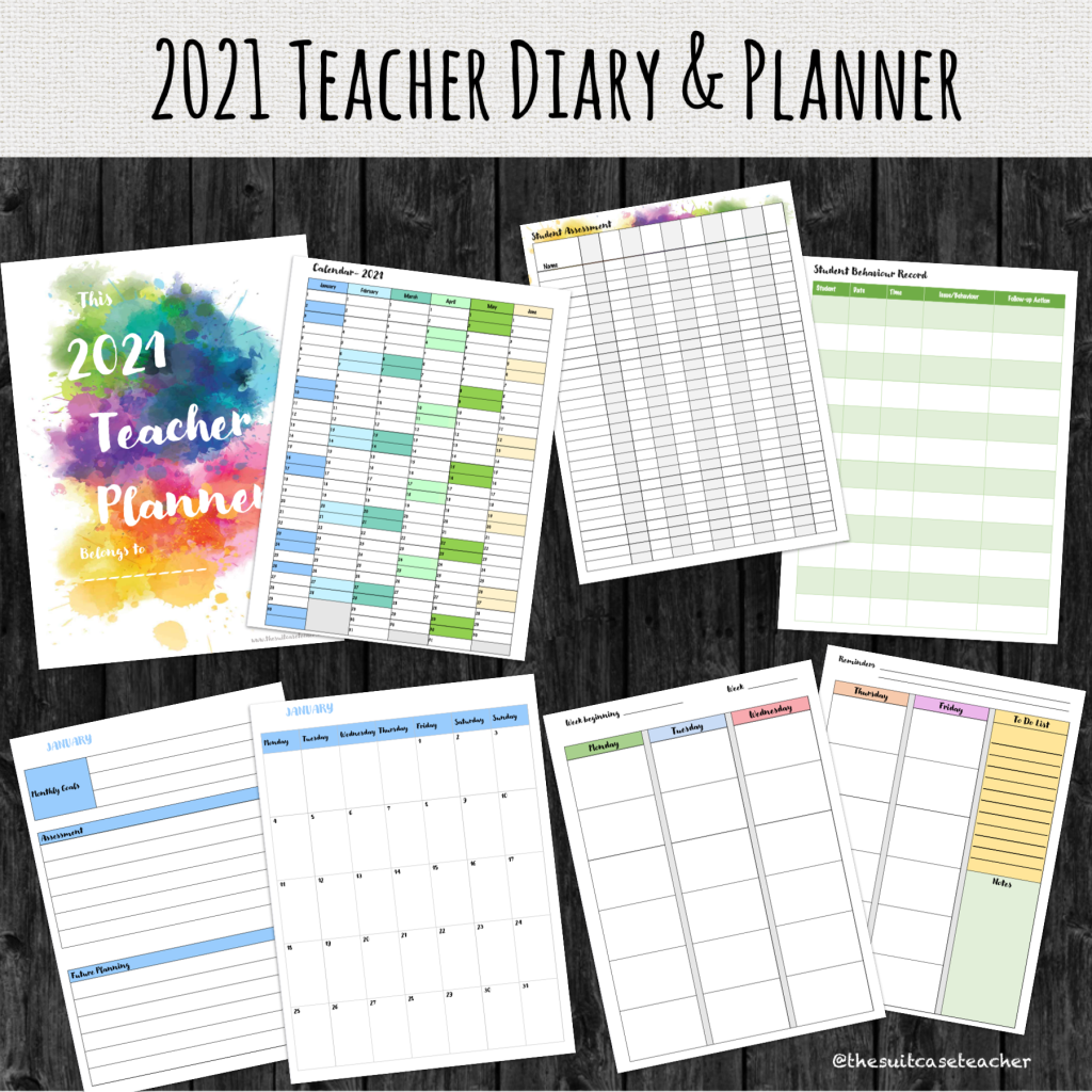 Teacher, planner, diary, 2021,  printable, PDF